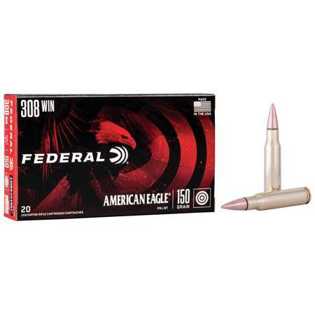 Balle De Chasse Federal Full Metal Jacket Boat-Tail American Eagle Rifle - 150Gr - Calibre 30-06 Sprg