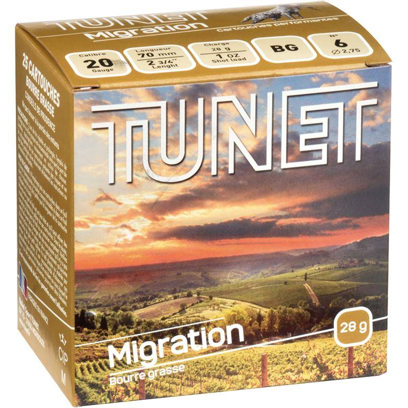 Cartouche De Chasse Tunet Migration - 28G - Calibre 20