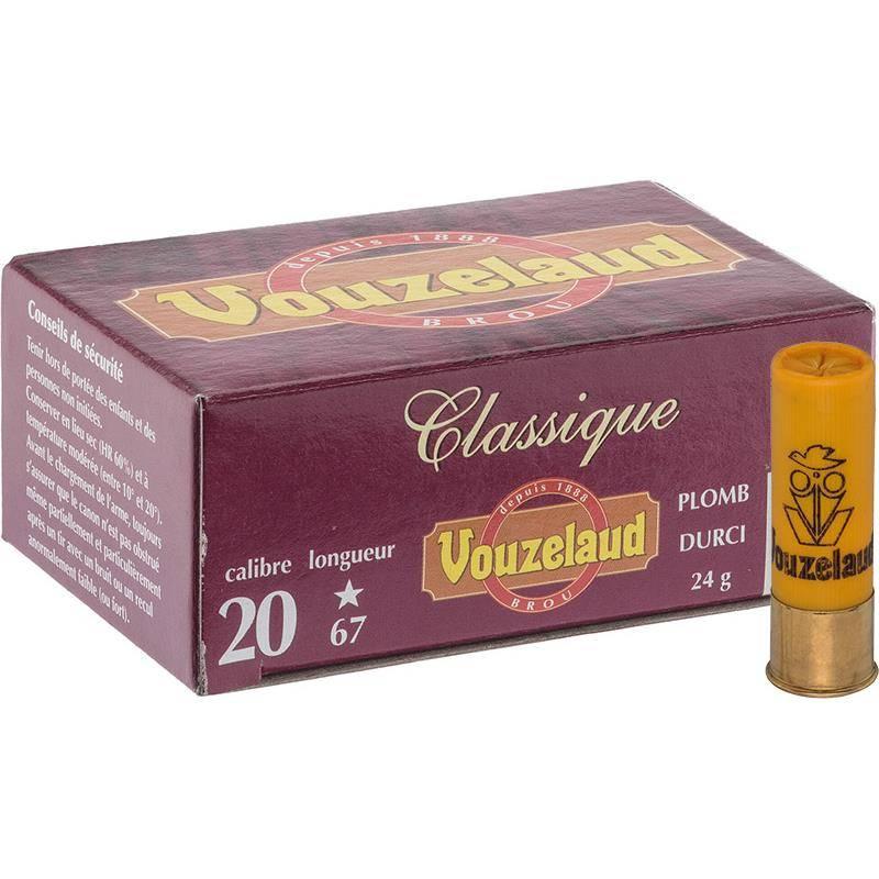 Cartouche De Chasse Vouzelaud Classique Grand Culot - 24G - Calibre 20