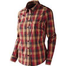 Chemise manches longues femme harkila lara lady - rouge/noir