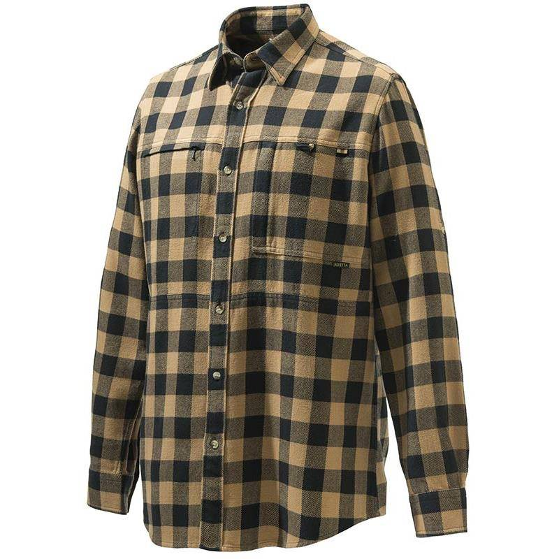 Chemise Manches Longues Homme Beretta Overshirt Zippered Pocket - Beige Carreaux Noir