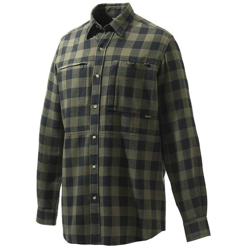 Chemise Manches Longues Homme Beretta Overshirt Zippered Pocket - Vert Carreaux Noir