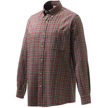 Chemise Manches Longues Homme Beretta Wood Flannel Button Down Shirt - Vert Carreaux Rouge