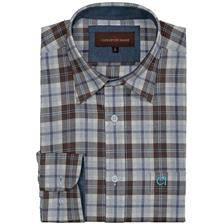 Chemise manches longues homme club interchasse navid - carreaux marrons/bleus