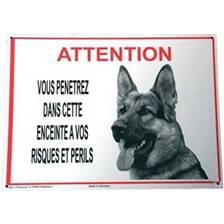 """Panneau avertissement """"attention berger allemand"""""""
