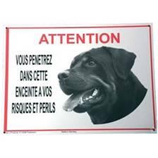 """Panneau avertissement """"attention rottweiler"""""""