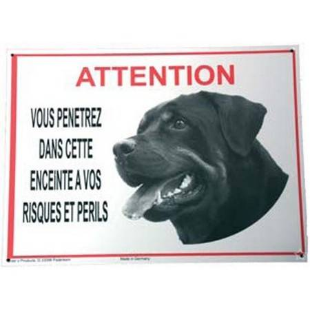 Panneau Avertissement Attention Rottweiler
