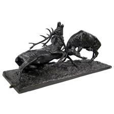 Statue bronze januel combat cerfs