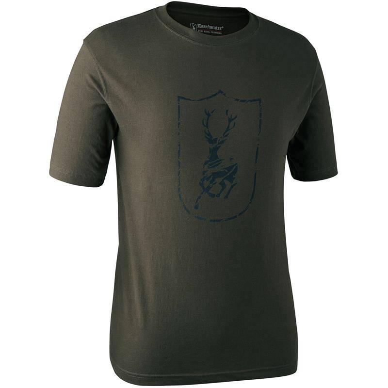 Tee Shirt Manches Courtes Deerhunter Logo Bouclier S/S - Bark Green