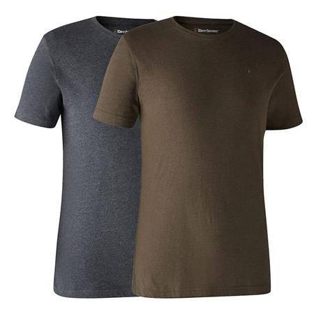 Tee Shirt Manches Courtes Deerhunter With Deer - Marron/Gris - Par 2