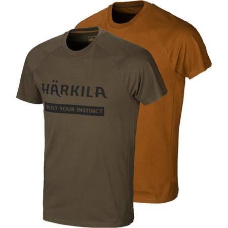 Tee Shirt Manches Courtes Homme Harkila Logo T-Shirt 2-Pack - Kaki/Orange