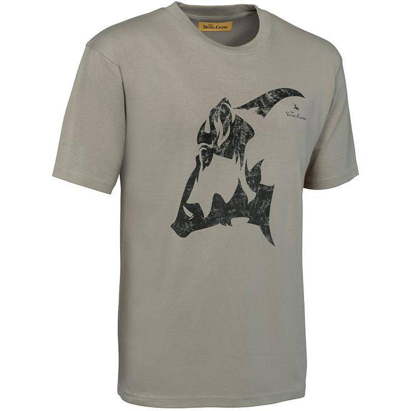 Tee Shirt Manches Courtes Homme Imprime Ligne Verney-Carron - Beige