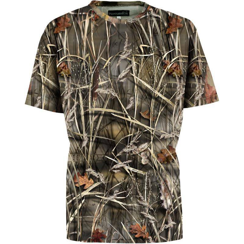Tee Shirt Manches Courtes Homme Percussion Palombe - Ghost Camo Wet