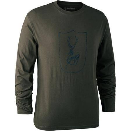 Tee Shirt Manches Longues Deerhunter Logo Bouclier L/S - Bark Green